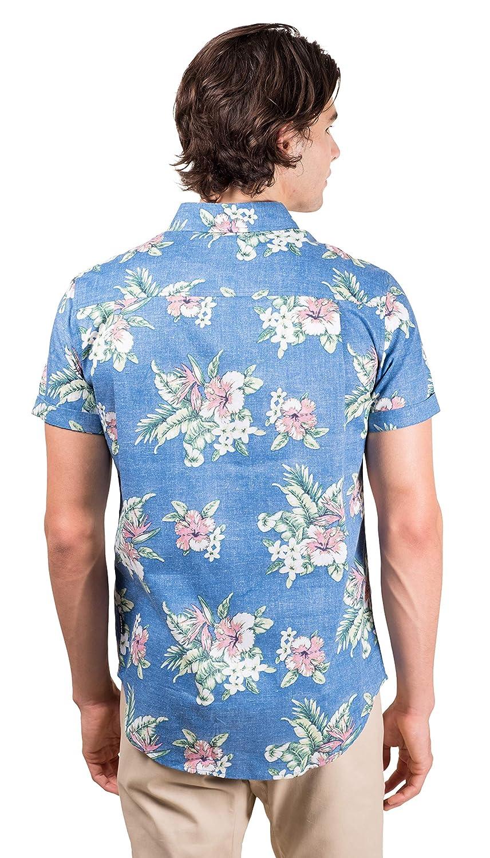 9d639463 Brooklyn Athletics Mens Hawaiian Aloha Shirt Vintage Casual Button Down Tee