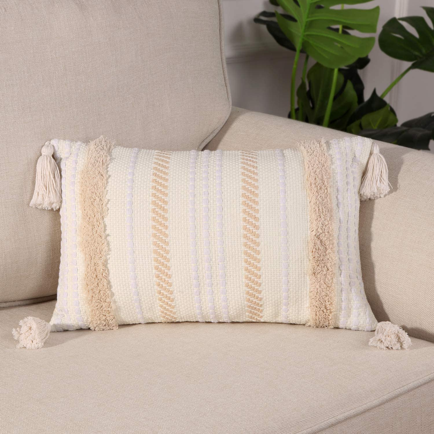 Ailsan Boho Lumbar Decorative Throw Pillow Cover Woven Tufted Pillowcase with Tassels Cute Soft Farmhouse Cushion Pillows Cover for Sofa Couch Bedroom Living Room, 12X20 inch Yellowy Beige