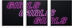 HAUS AND HUES Girls Girls Girls Neon Signs Posters Set of 3 | Girls Signs Fashion Wall Decor | Makeup Room Wall Art | Girly Wall Decor for Dorm Room in College Girls (8