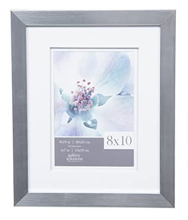 Amazoncom Gallery Solutions 8x10 Flat Silver Wall Picture Frame