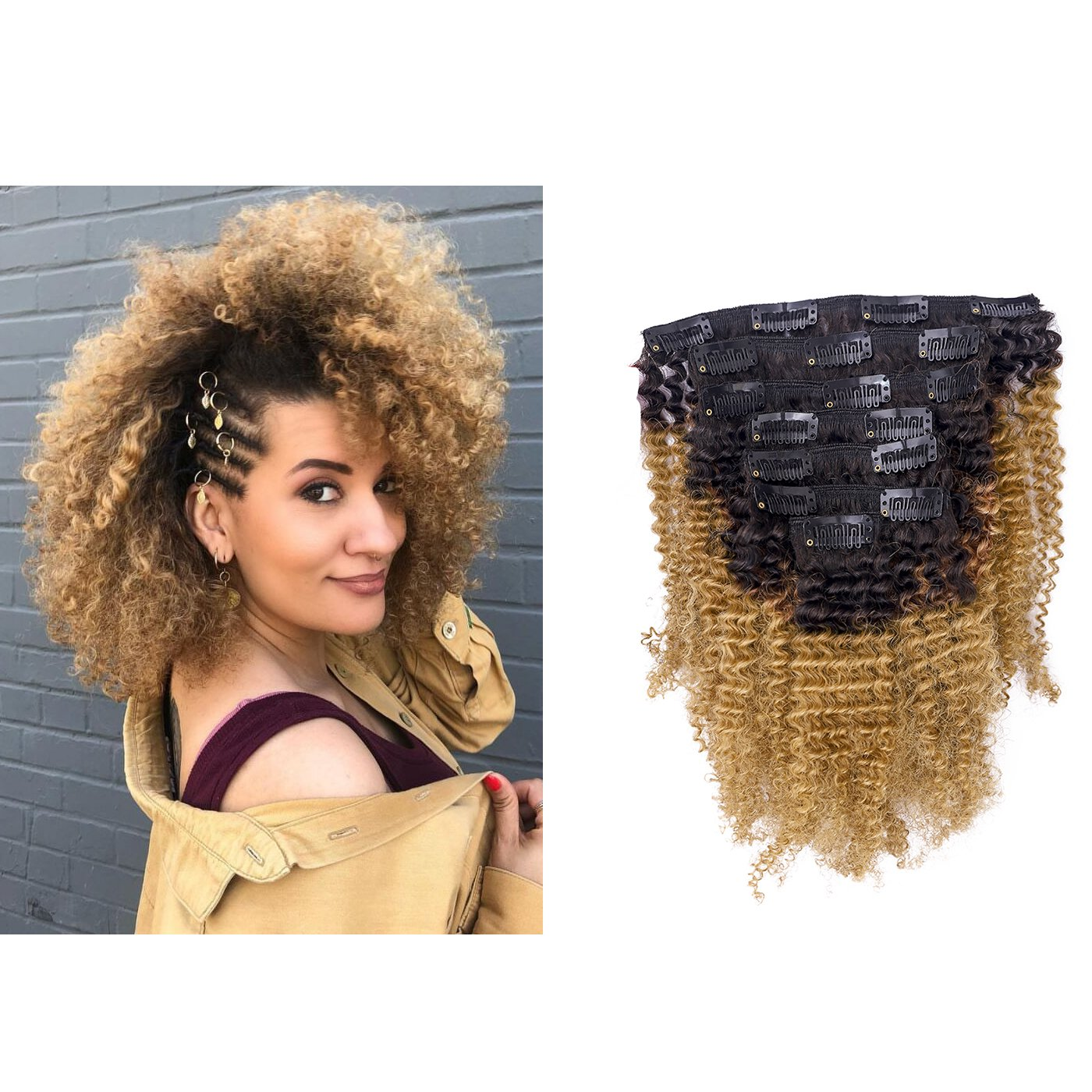 Amazon Anrosa Afro Kinky Curly Clip In Hair Extensions Human