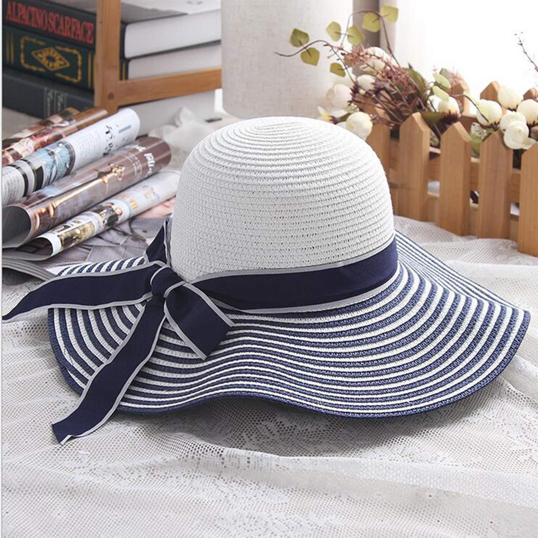 Fashion Striped Bowknot Summer Sun Hat Beautiful Women Straw Beach Hat Large Brimmed Hat
