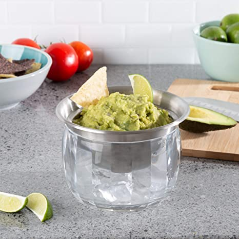 Amazon Com Classic Cuisine Cold Dip Bowl Chilled Serving Dish With Ice Chamber Servingware Container For Dip Hummus Dressing Salsa Guacamole And More Chip Dip Sets