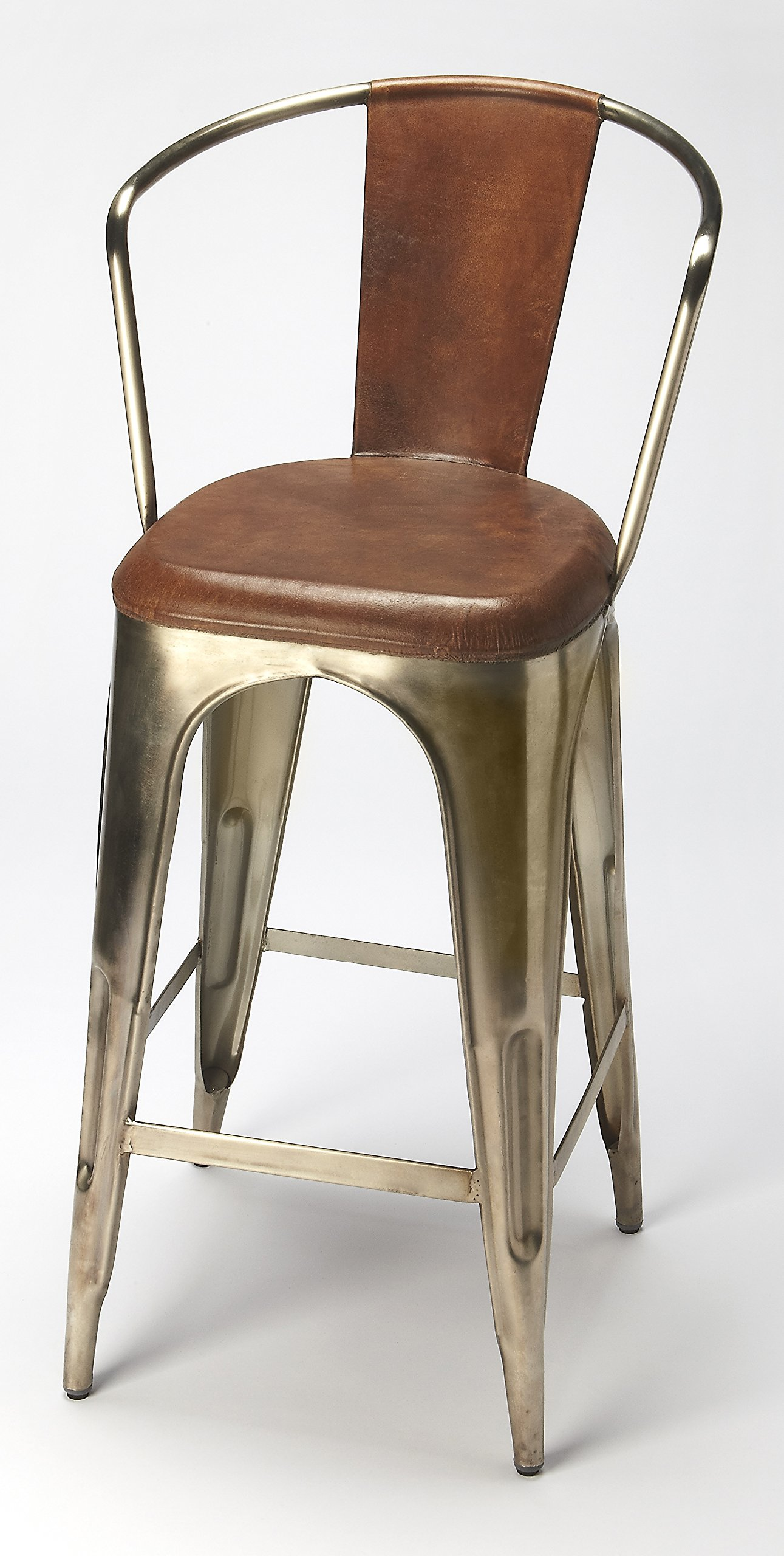 Roland Iron and Leather Barstool 730885
