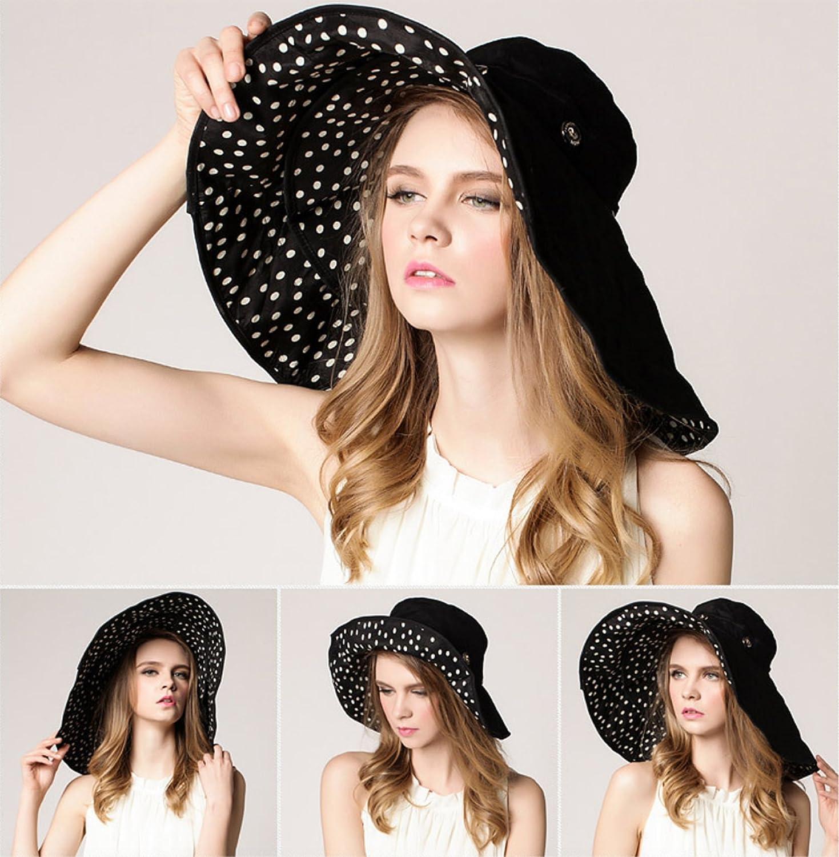 36f79033d23 Elonglin Womens Wide Brim Beach Hat Sun Hat Detachable Foldable Cap Anti-UV  EL. larger image
