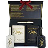 DELUXY Honeymoon Luggage - Mr and Mrs Luggage Tags + Passport Holder - Memorable Bridal Shower Gifts, Wedding Gifts for Coupl