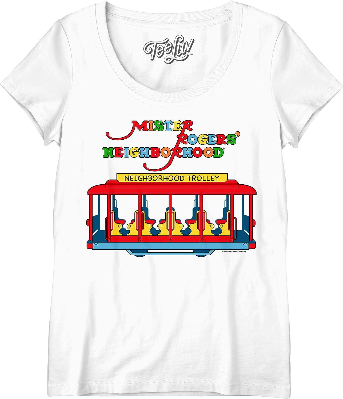 Amazon Com Tee Luv Women S Mr Rogers T Shirt Mister Rogers Neighborhood Trolley Shirt Clothing