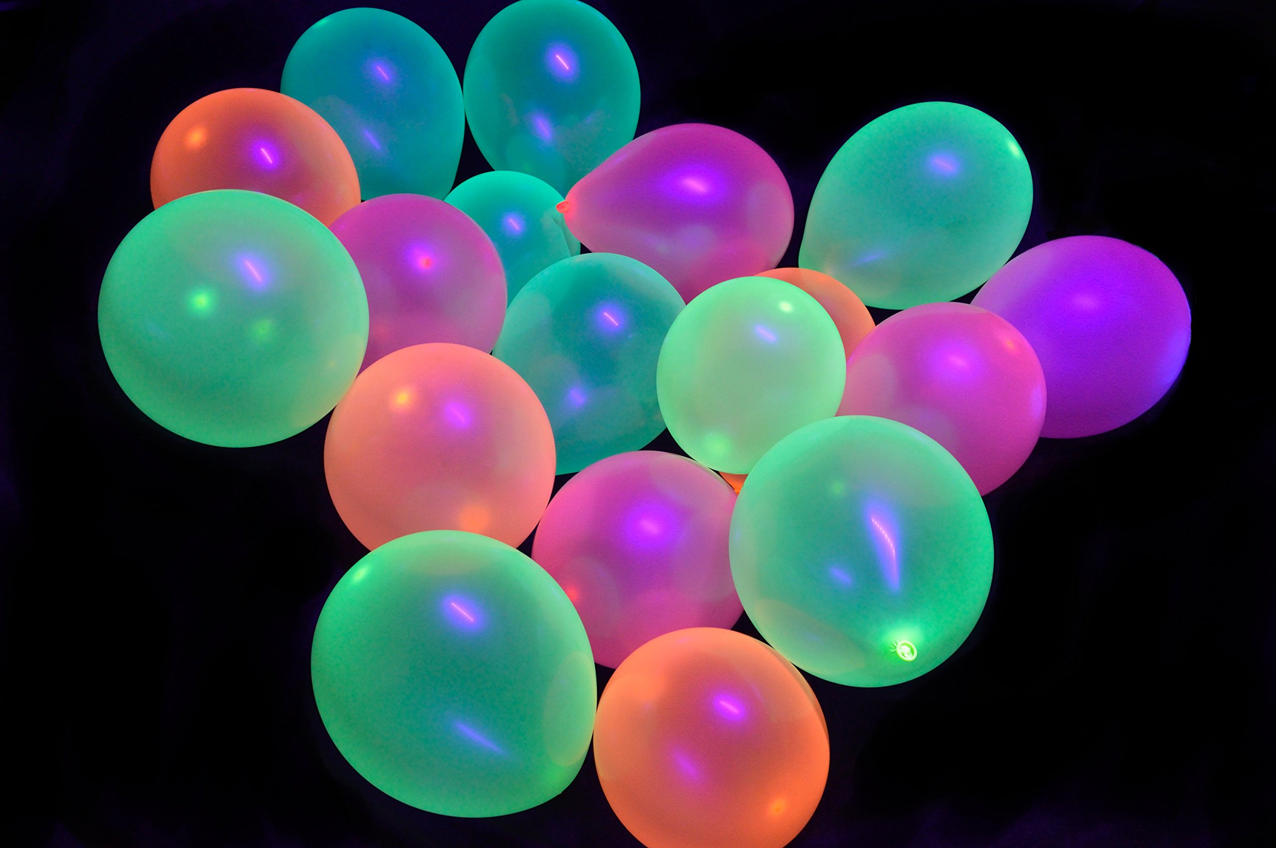 Midnight Glo UV Blacklight Reactive Balloons (100 Pack) Fluorescent Neon Semi-Transparent Party Decoration