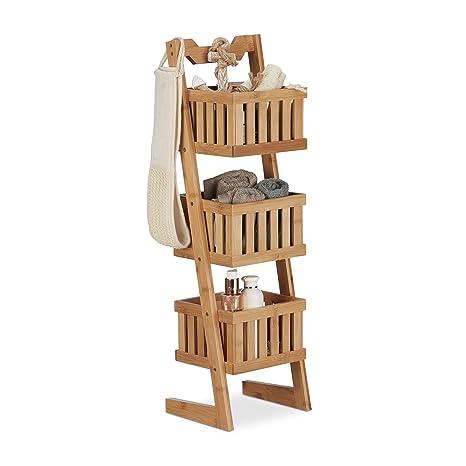 d8fc38dfe056 Relaxdays Scaffale per Il Bagno in bambù, 3 Ripiani, Maniglia, – Scaffale  Multiuso