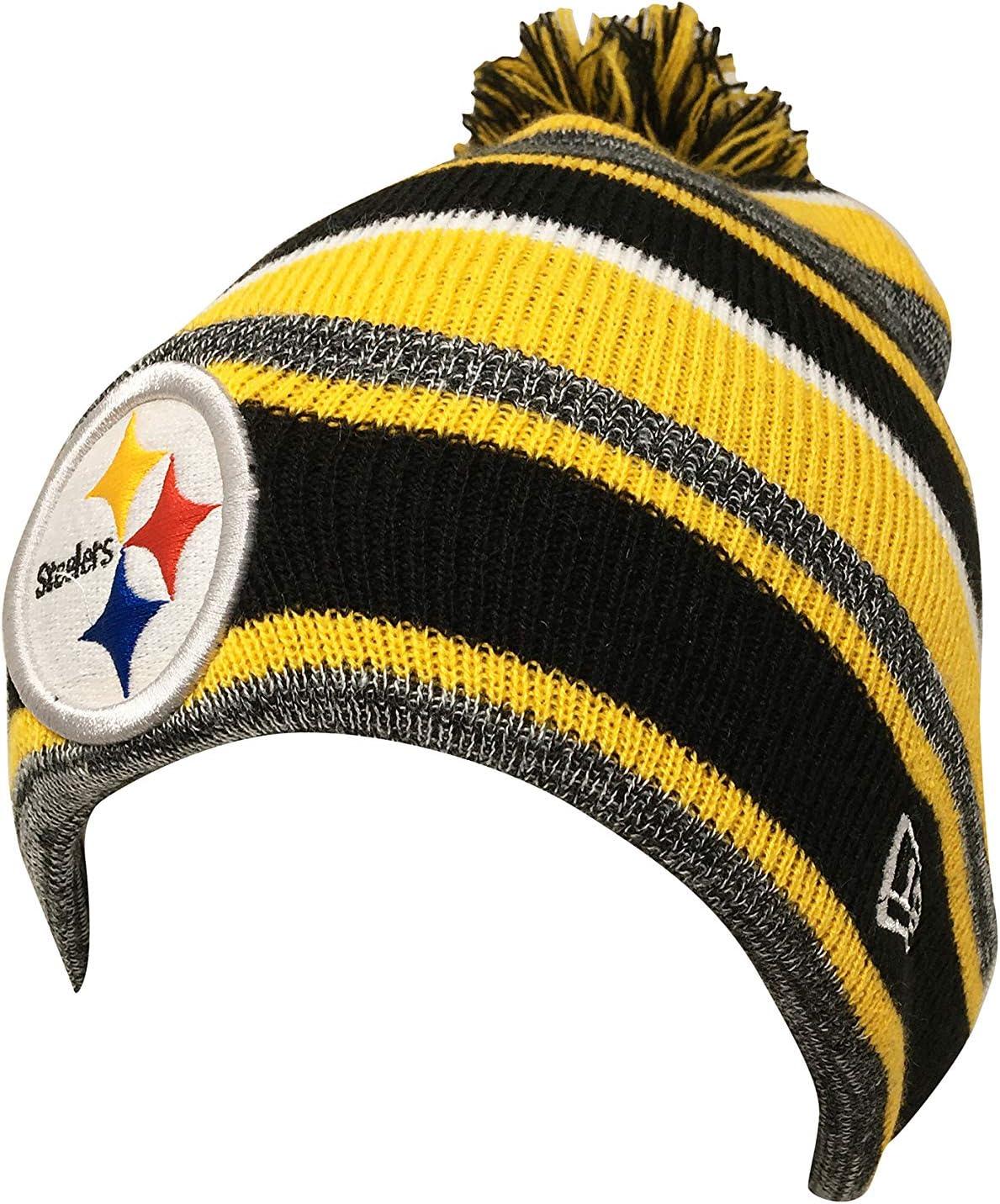 One Size New Era Pittsburgh Steelers Snow Caps Beanie Marled Stripe 21244796 Yellow//Black