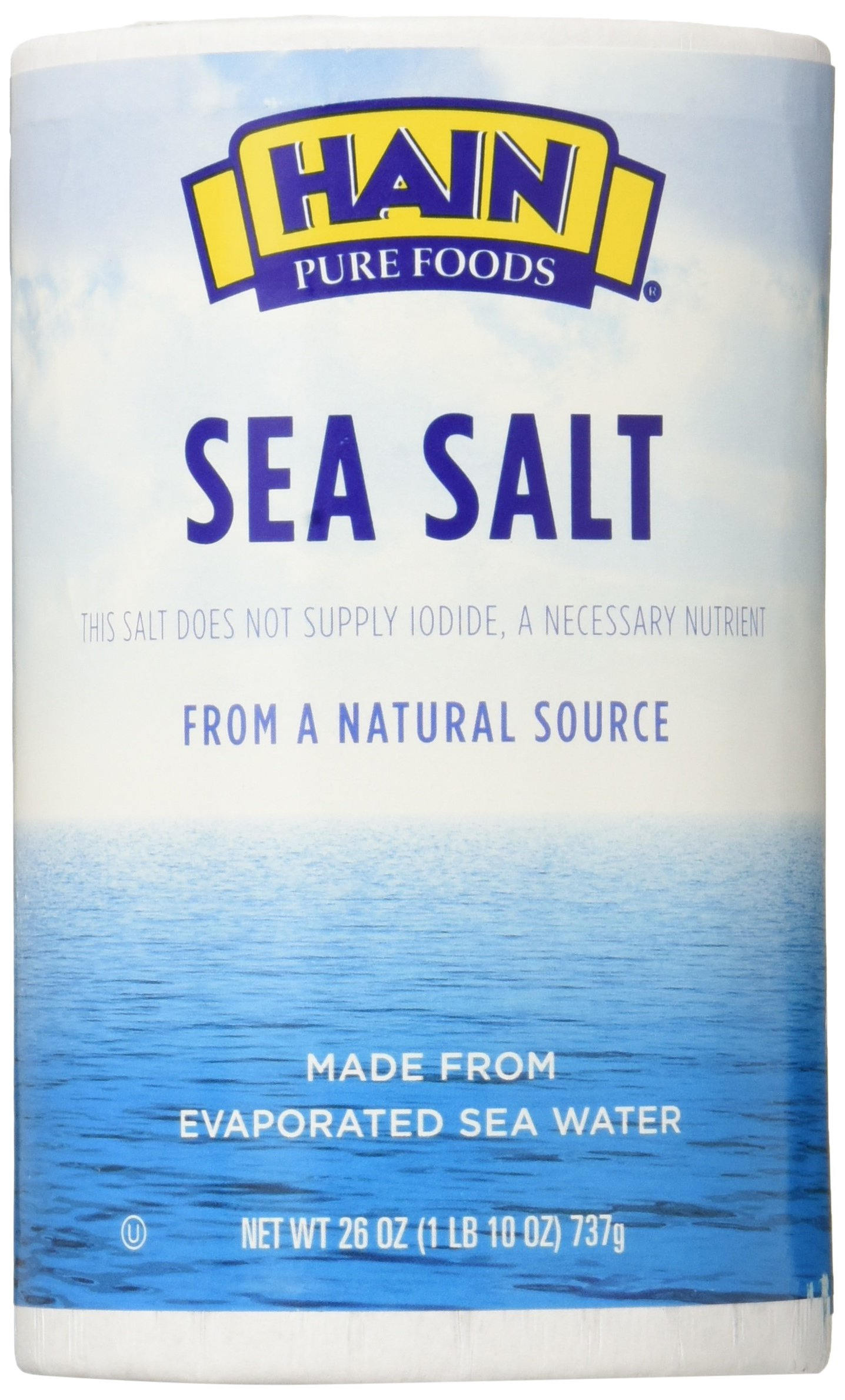 Hain Pure Foods Plain Sea Salt 26 Oz (Pack of 2)