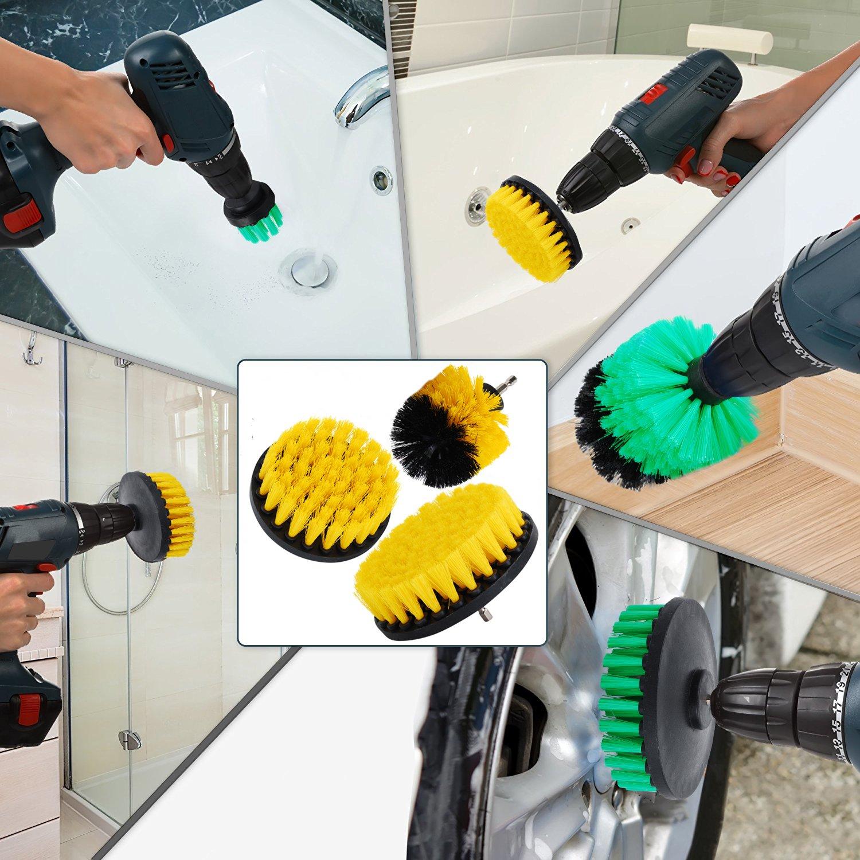 OxoxO - Brocha para taladro, accesorio para taladro de 5 cm, 7,6 cm y 10,1 cm de dureza media para limpieza de duchas, bañeras, azulejos, lechadas, ...