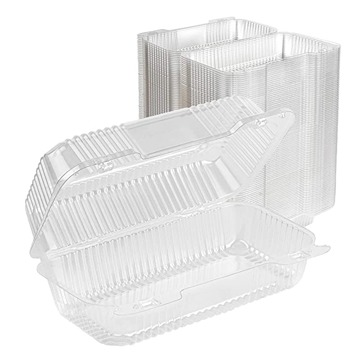 Stock Your Home Plastic 9 x 5 Inch ClamShell Takeout Trays (25 Count) - Dessert Containers - Plastic Hinged Food Container - Disposable Plastic Clamshell Food Containers for Slices of Cake, Sandwiches