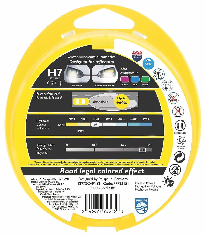 Philips ColorVision Bombilla para faros delanteros amarilla 12972CVPYS2 - bombilla para coches (55W, H4/H7, Fog light, High beam, Luz interior, Low beam, ...