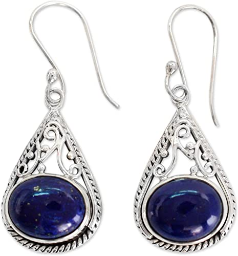 Lapis Lazuli Earrings Round Gem Teardrop Hoop 925 Sterling Silver Dangle Drop