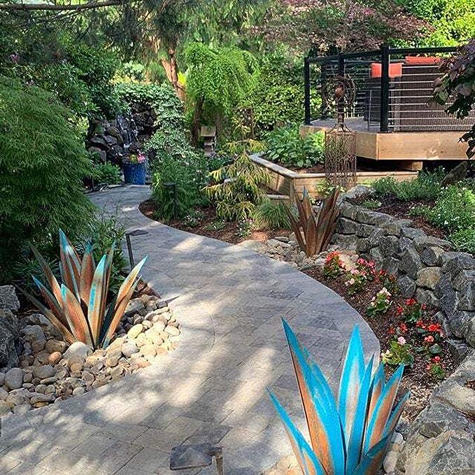 "14/"" Agave Rustic Sculpture Metal DIY Art Tequila 9 Leaves Home Garden Yard Decor"