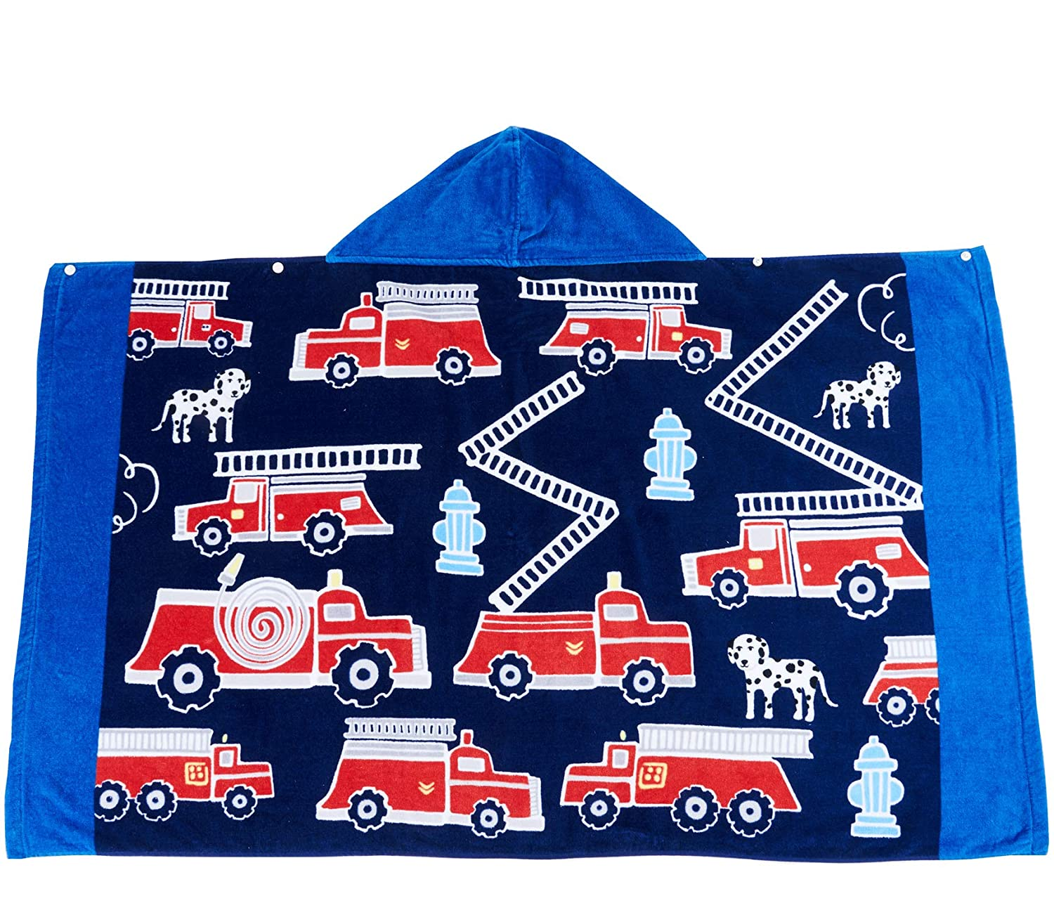 Wowelife Fire Truck Hooded Bath Towel Upgraded for Bath, Pool and Beach, 100% Cotton 30 x 50 inch Extended Length for Boys and Girls, Fits 4-12 Years Old(Fire Engine)