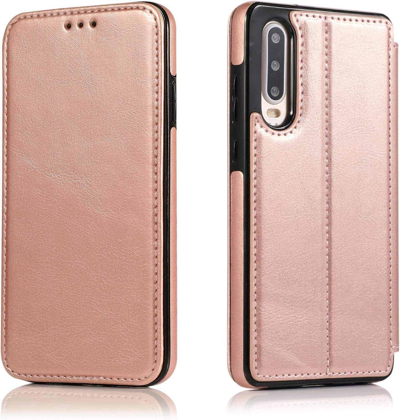DESCHE compatible for Huawei P30 Leather Case Magnetic Flip Cover Leather Card Slot Cover Brown