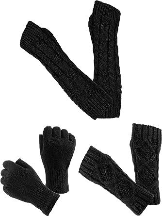 Blulu 3 Paar Fingerlose Handschuhe Stricken Warme Handschuhe Lange ...
