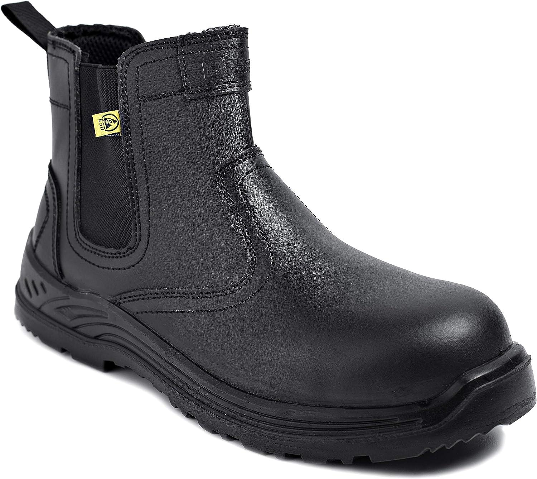 Botas de Seguridad para Hombres Zapatos de Trabajo de Cuero Puntera de Acero Calzado Ligero al Tobillo para Trabajar ESD S3 SRC 8872 de Black Hammer