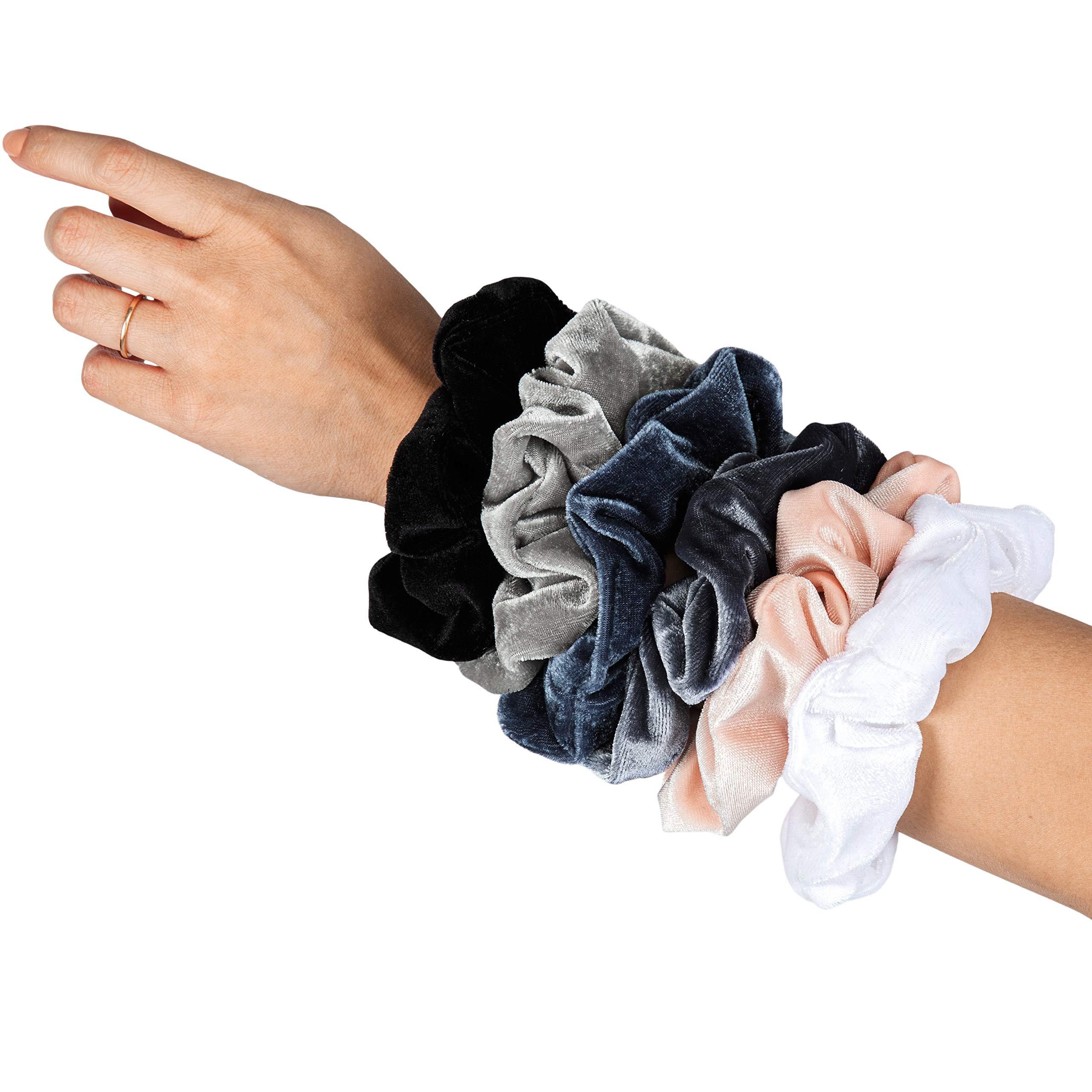 HARLOW Designer Velvet Scrunchies for hair, BigScrunchies Velvet Packs for VSCO stuff, Hair Scrunchies - 6 Pack (Neutral)