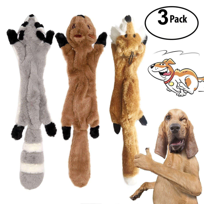 3 Pack Dog Squeaky Chew Toys No Stuffing Dog Toys Plush Animal Dog Toys for Small Medium Dog