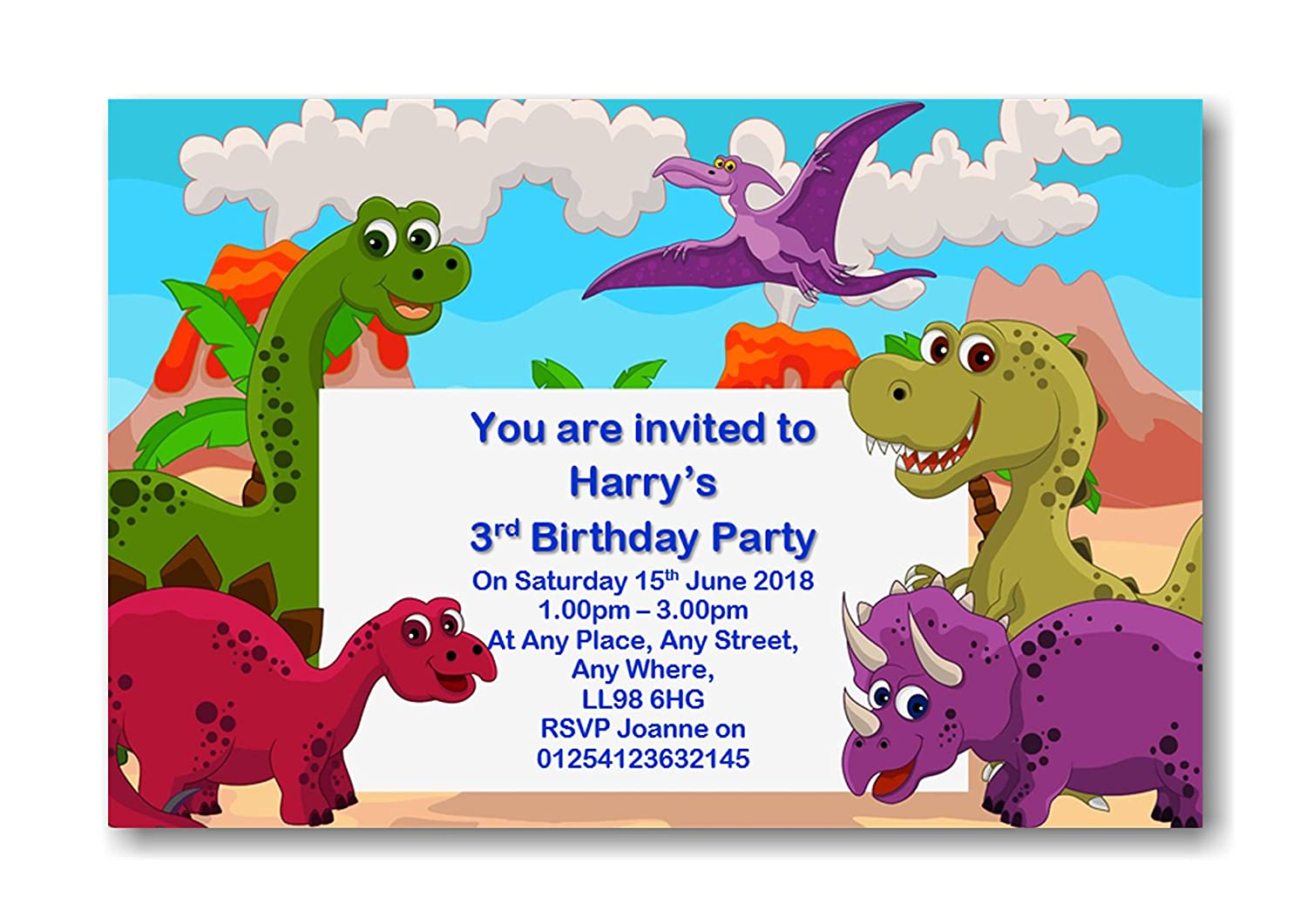 12 Personalised Dinosaurs Birthday Party Invitations Invites With Envelopes Ref BD22 Amazoncouk Office Products