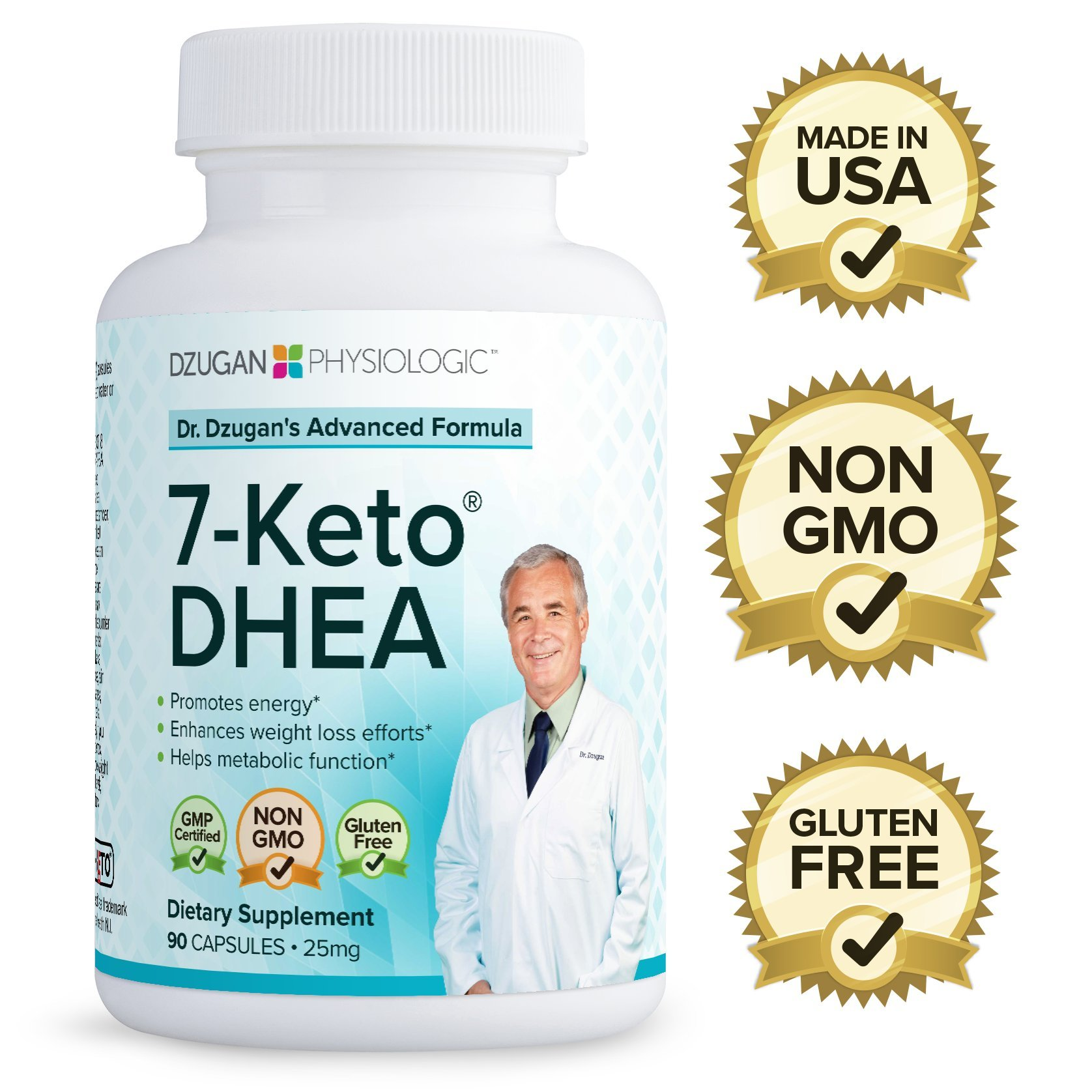 Dr. Dzugan's ADVANCED 7-Keto DHEA Formula :: Non-GMO, Gluten Free, GMP Certified! :: 25mg 90 Softgels :: Energy, Metabolism