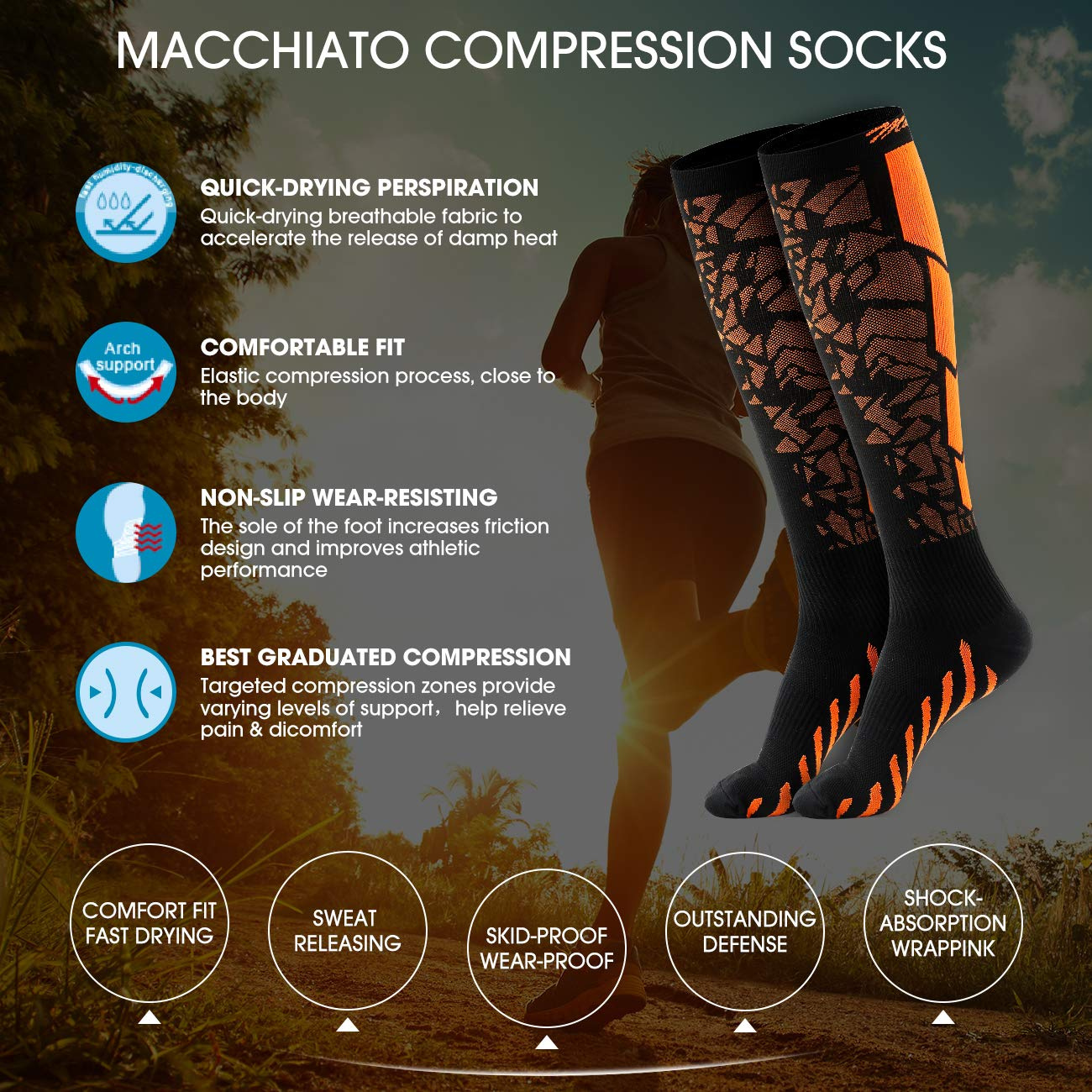 Macchiato 1//3 Pairs Compression Socks for Women and Men 20-30 mmHg-Best for Running,Athletic,Medical,Pregnancy and Travel