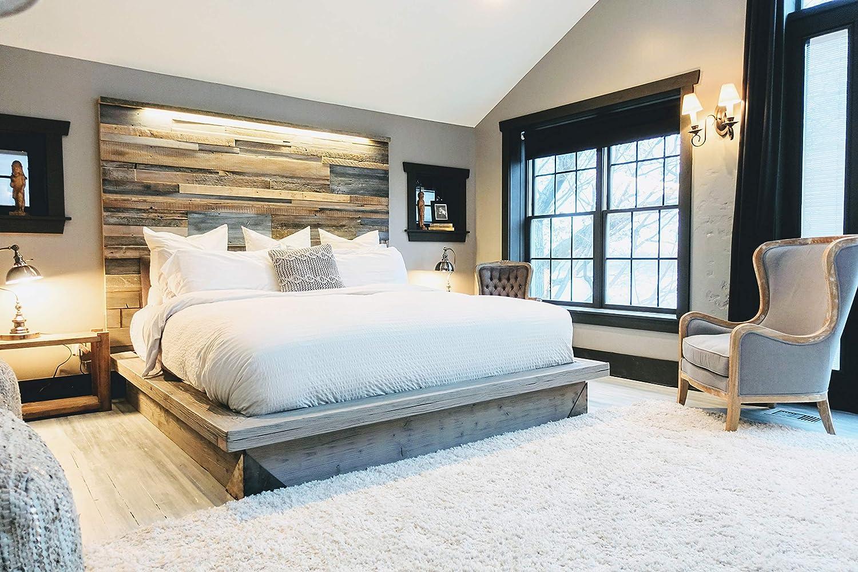 Amazon Com King Size Modern Industrial Platform Bed Reclaimed