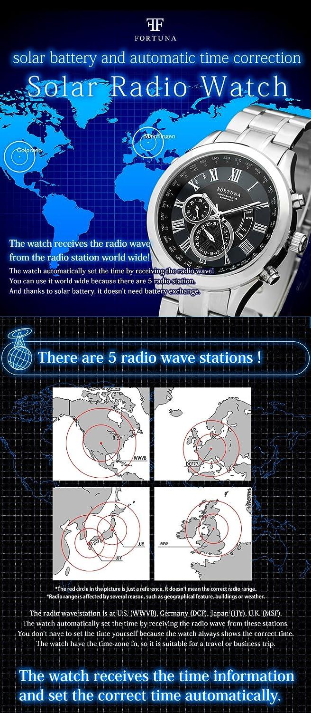 [Fortuna] Solar Radiowelle automatisch Zeiteinstellung ewiger Kalender Weltzeit Herren uhren Armbanduhren