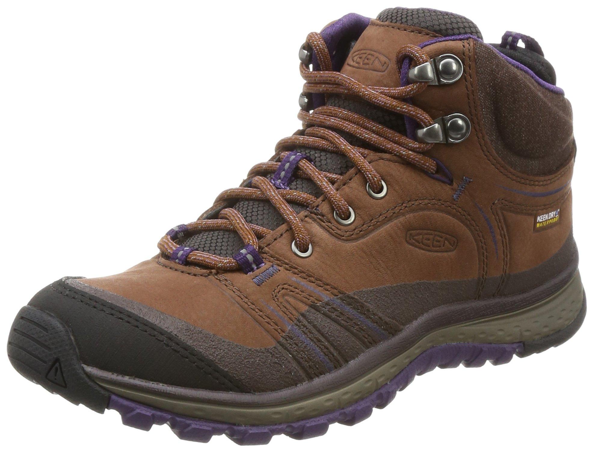 KEEN Women's Terradora Leather Mid WP-w Hiking Shoe, Scotch/Mulch, 7.5 M US