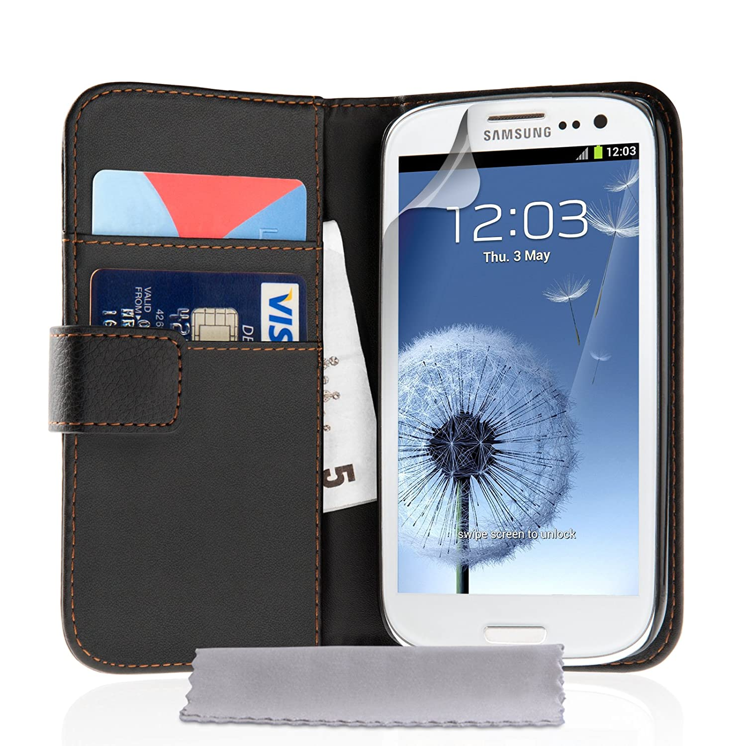 Lcd screen protector guard for samsung galaxy s3 i9300 galaxy s iii - Amazon Com Samsung Galaxy S3 Case Black Leather Wallet Cover With Screen Protector Cell Phones Accessories