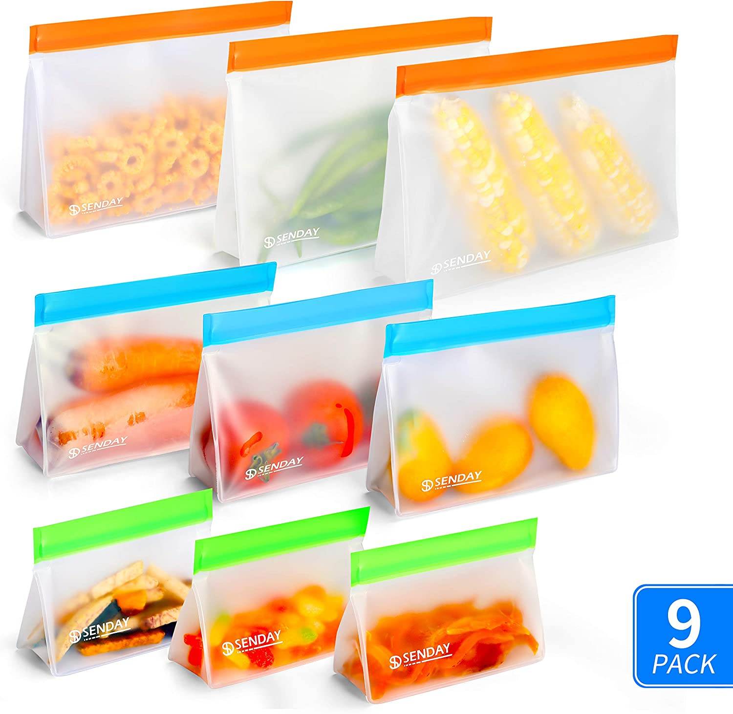 9 Pack Stand Up BPA-Free Reusable Storage Bags (3 Freezer Safe Gallon Bags, 3 Leakproof Sandwich Bags, 3 Thick Snack Bags) PEVA Ziplock Lunch Bags for Food Marinate Home Travel Fruit Cereal Organizer