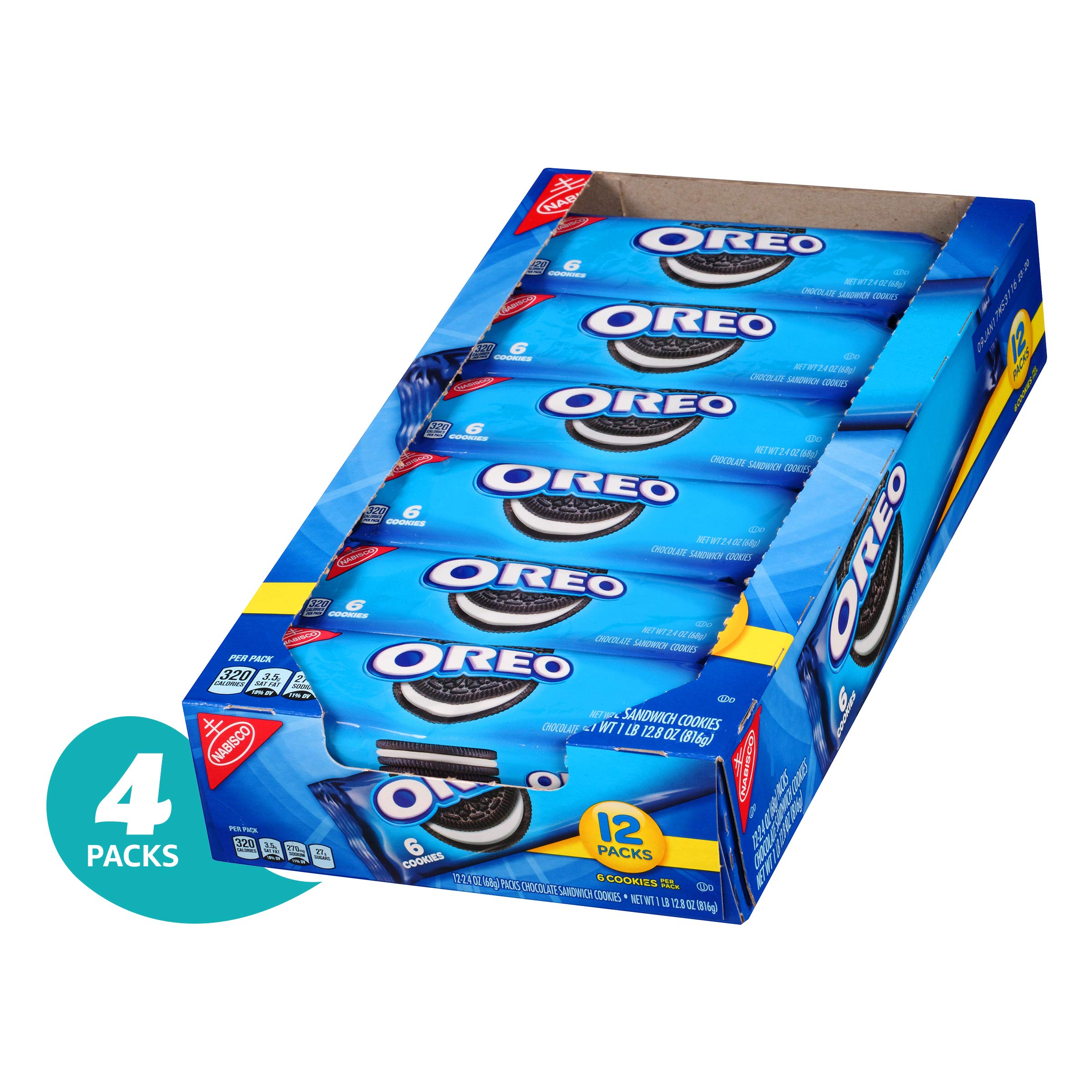 Oreo Chocolate Sandwich Cookies - Snack Packs, Count Box, 28.8 oz (Pack of 4)