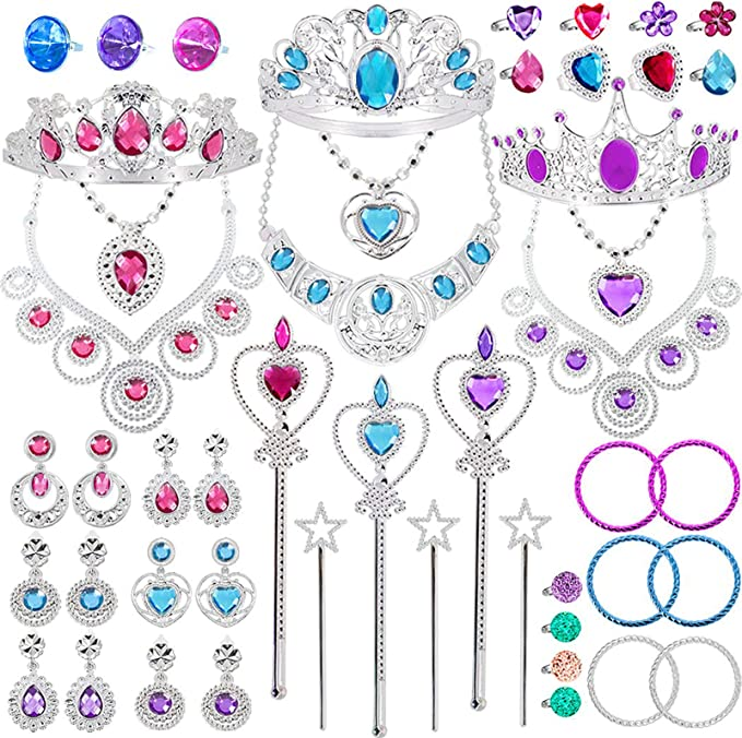 Wands Bracelets Party 10pcs Liisea Princess Dress Up Accessories Gift Jewelry Set for Girls Crowns Necklaces
