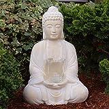Buddha mit Teelicht Deko Figur 40cm groß betende Thai Skulptur Teelichthalter Buddhafigur sitzend Buddah Statue mit Windlicht