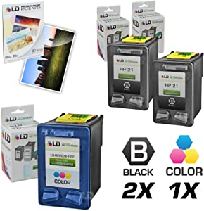 LD Remanufactured Ink Cartridge Replacement for HP 21 & 22 (2 Black, 1 Color, 3-Pack)