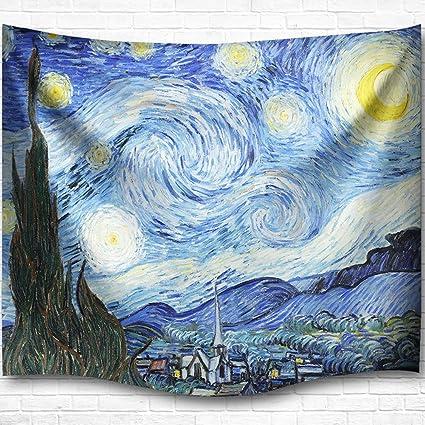 Dytiying Tessuto in poliestere blu notte stellata arazzo da parete ...