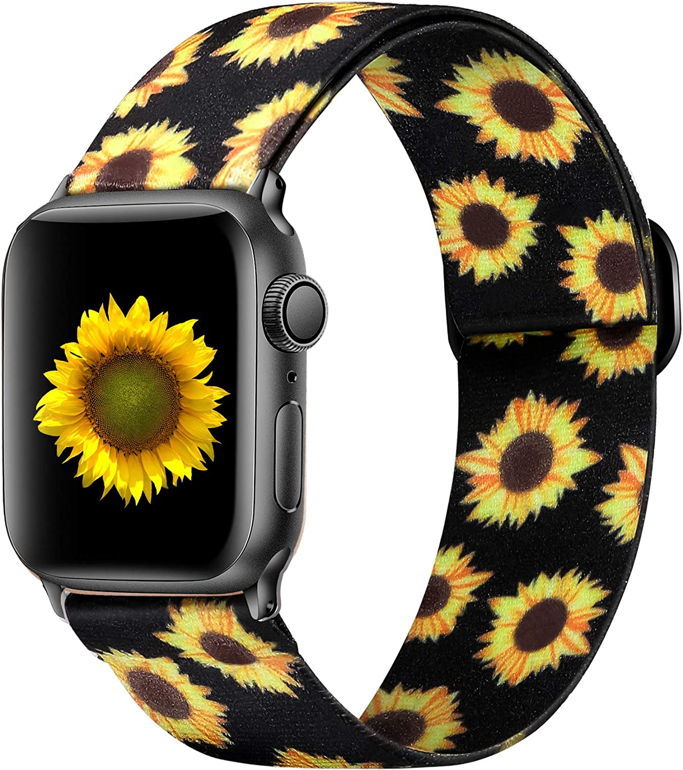 Ouwegaga Adjustable Elastic Bands Compatible for Apple Watch Band 40mm 38mm iWatch SE and Series 6 5 4 3 2 1 FashionCute Soft Stretchy Loop Woven Fabric Wristband for Women Men Black Sunflower