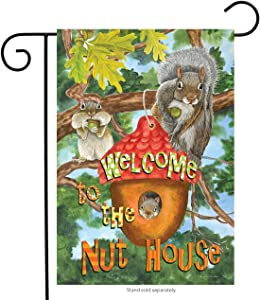 """Briarwood Lane Welcome to The Nut House Summer Garden Flag Humor Squirrels Tree House 12.5""""x18"""""""