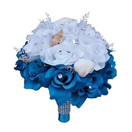 Amazon 9 Bouquet Silk Roses With Seashel White And Turquoise