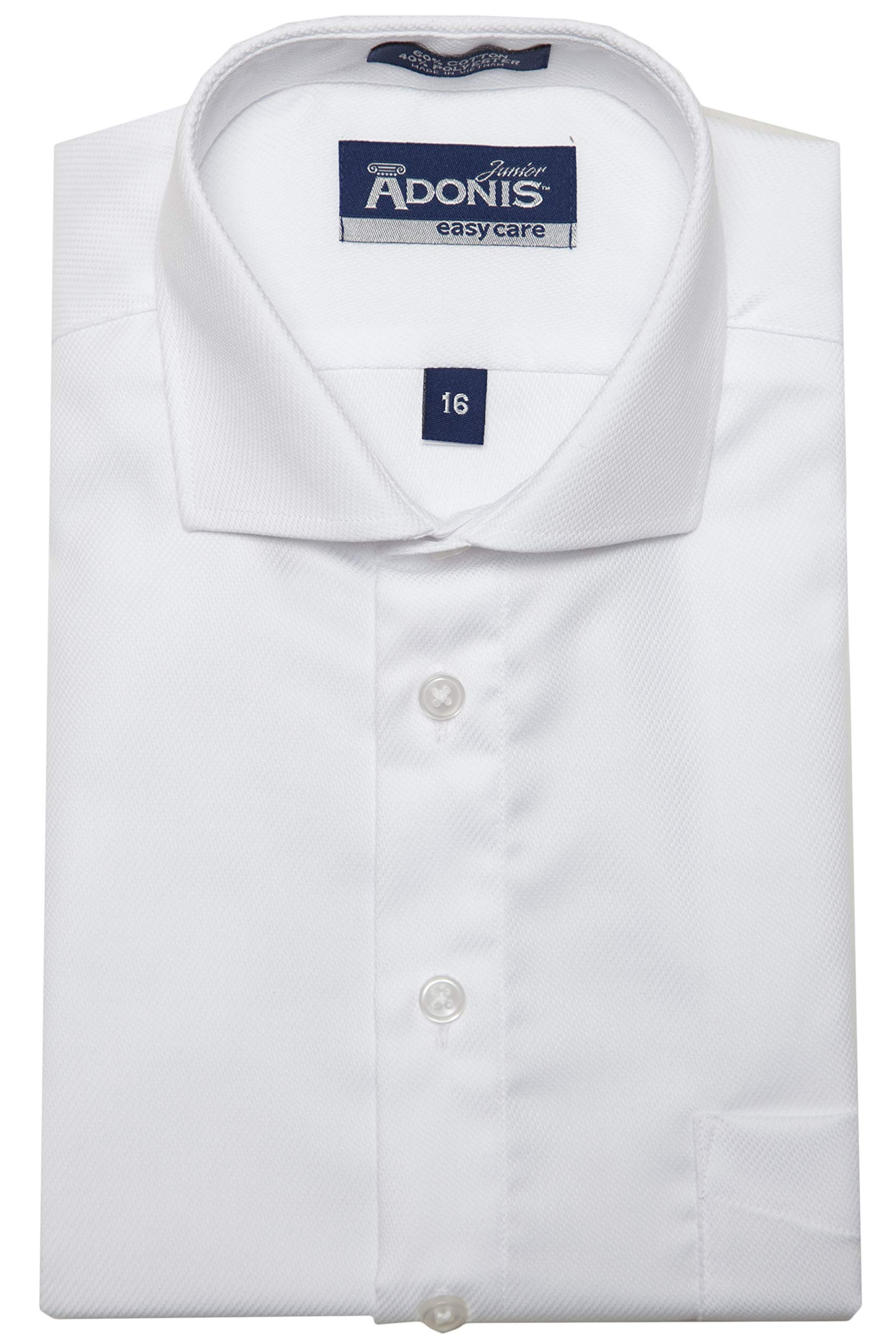 Adonis Shirts Inc. Boys Poly Cotton Easy Care Barrel Cuff Open Twist (18) White