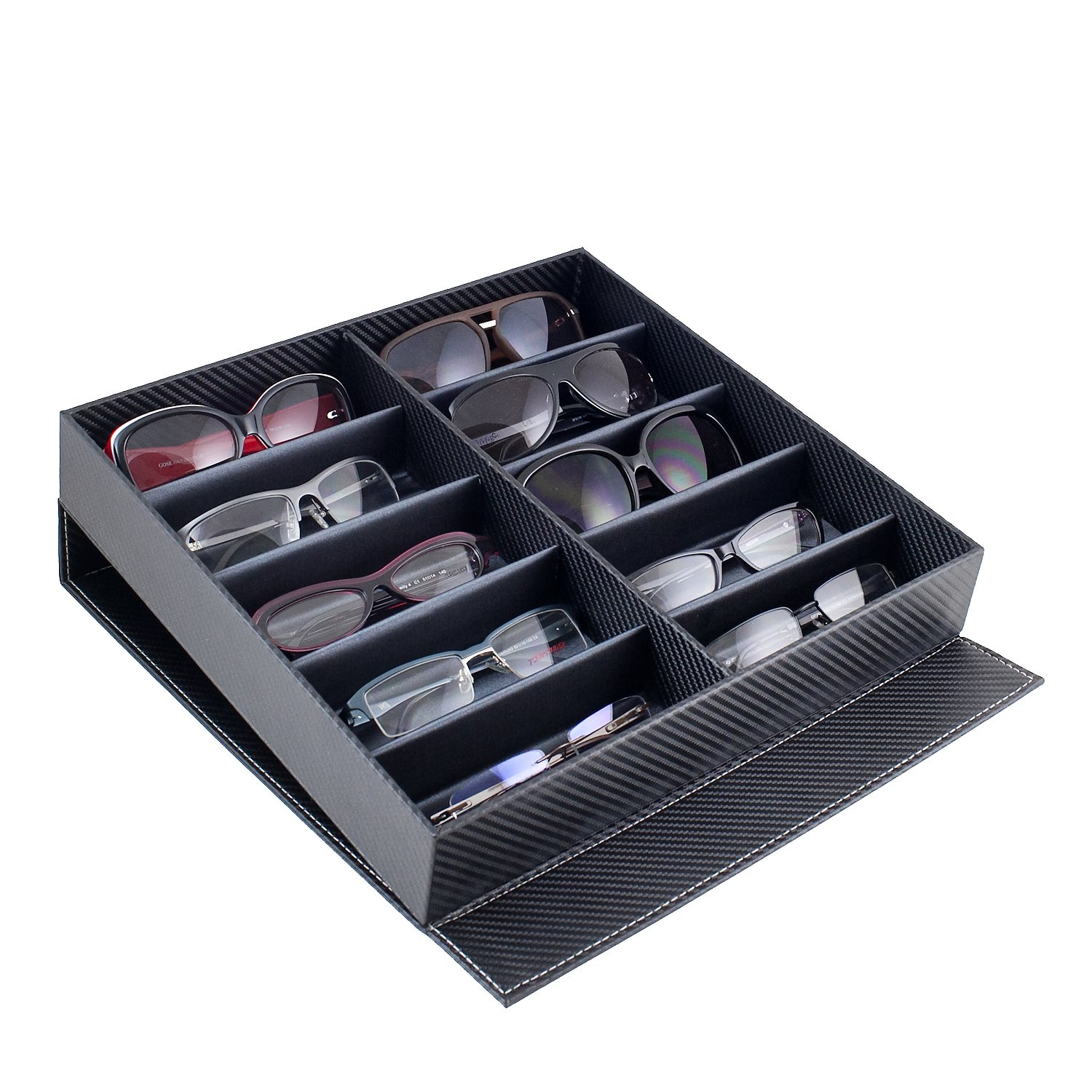 Amazon.com: Caddy Bay Collection Carbon Fiber Pattern Large Sunglasses Case  Display Storage Watch Box With 10 Slots: Watches