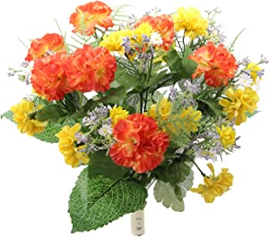 Admired By Nature 16 Stems Artificial Blooming Baby Carnation with Greenery Mixed Bush for Home Office Wedding, Restaurant Decoration Arrangement, Orange/Yellow, 2 Pieces