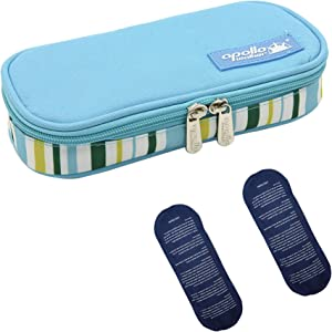 Apollo walker Insulin Cooler Travel Case Diabetic Medication Cooler with 2 Ice Pack and Insulation Liner(Light Blue)…