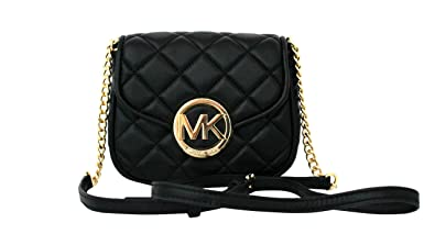 7bb5e2660fe6 MICHAEL Michael Kors Women's FULTON QUILT SMALL FLAP LEATHER CROSSBODY PURSE  (BLACK)