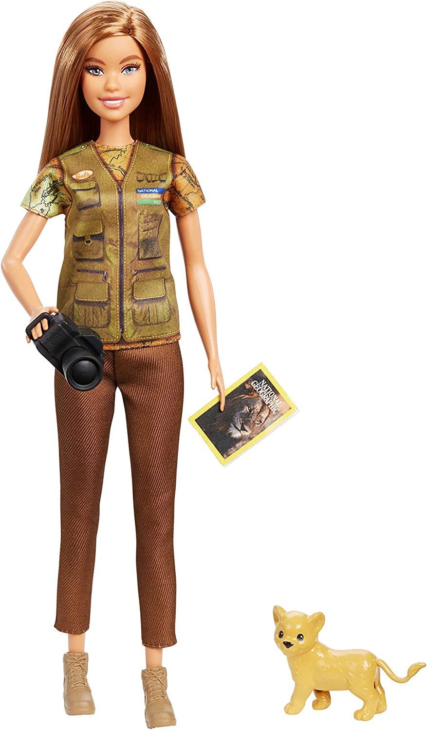 ​Barbie Photojournalist Doll, Brunette with Lion Cub, Camera and Magazine Cover, Inspired by National Geographic