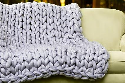 Giant Knit Blanket. Merino Wool Blanket. Super Chunky Merino Wool Blanket.  Arm Knitting 8e6ada8c1
