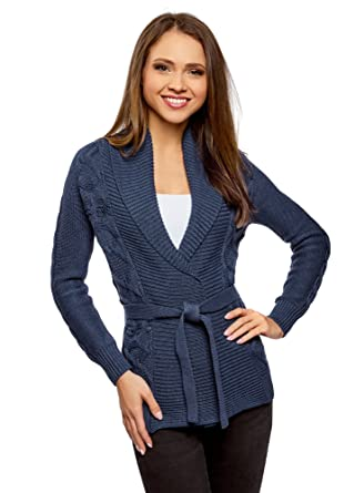 b43874781f oodji Ultra Women s Belted Cable Knit Cardigan